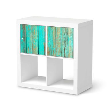 Möbel Klebefolie IKEA Expedit Regal 2 Türen (quer) - Wooden Aqua