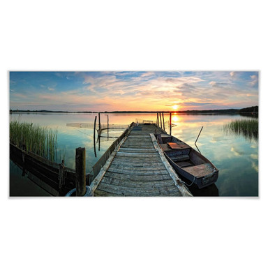 Poster Sunset at the lake - Panorama
