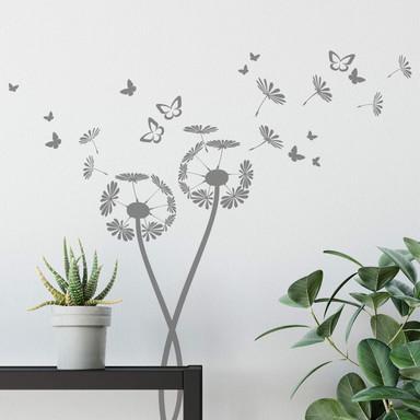 Wandtattoo Pusteblumen mit Schmetterlingen