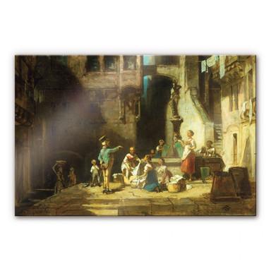 Acrylglasbild Spitzweg - Wäscherinnen am Brunnen