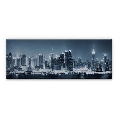 Alu Dibond Bild New York at Night 1 - Panorama