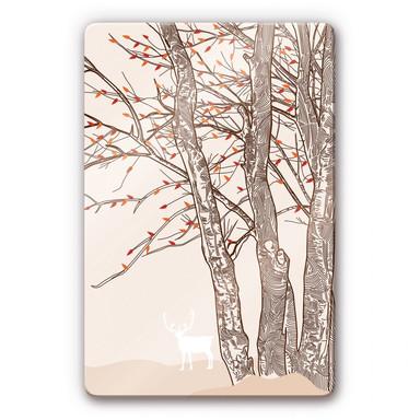 Glasbild Hirsch im Wald