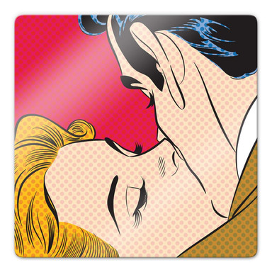 Glasbild Kissing Couple