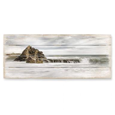 Holzbild Fels in der Brandung - Panorama