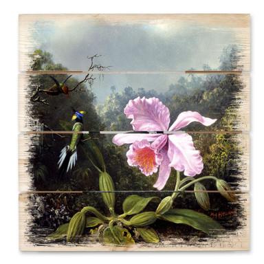 Holzbild Heade - Stillleben mit Orchidee und Kolibris