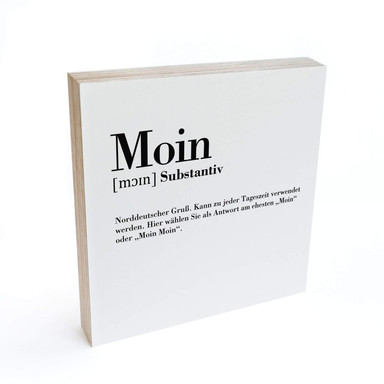 Holzbild zum Hinstellen - Grammatik - Moin - 15x15cm - Bild 1