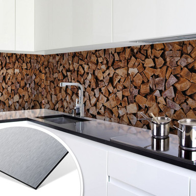 Küchenrückwand - Alu-Dibond-Silber - Holz