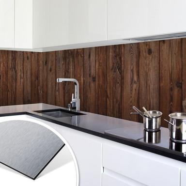 Küchenrückwand - Alu-Dibond-Silber - Holzpaneele 02