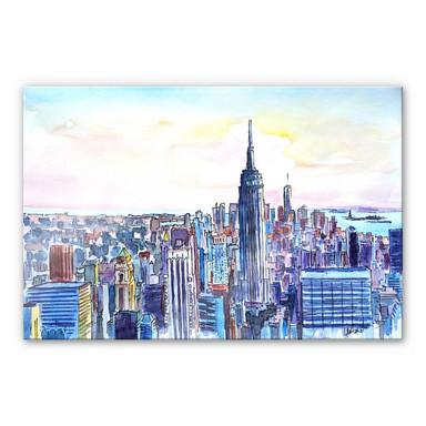 Acrylglasbild Bleichner - Manhattan Skyline - Aquarell