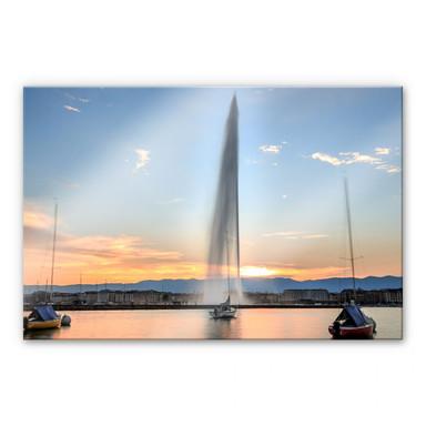 Acrylglasbild Wasserfontäne im Genfer Sonnenuntergang