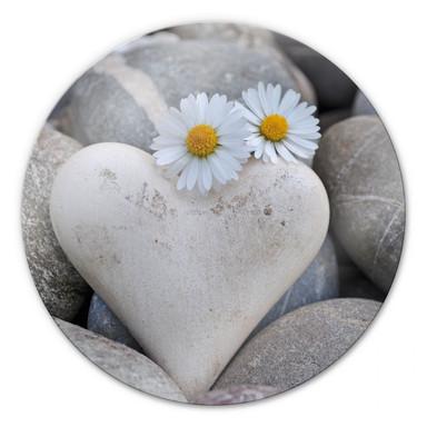 Glasbild Liebesblumen - rund
