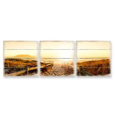 Holzbild Set Sunset at the Beach (3-teilig)