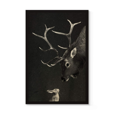 Holzposter Graves - Deer and Rabbit