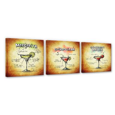 Leinwandbild Cocktails Set 01 (3-teilig)