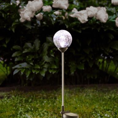 Erdspiessleuchte Roma mit weissem Glas, 680 mm, inkl. Sensor und LED