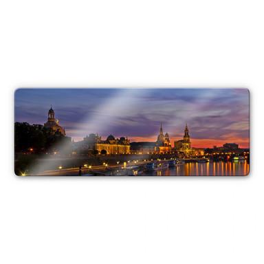 Glasbild Dresden im Nachtlicht Panorama