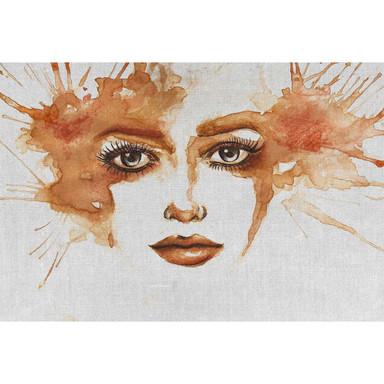 Livingwalls Fototapete ARTist Watercolour Face in Wasserfarben Optik grau, orange, rot - Bild 1