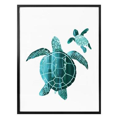 Poster Goed Blauw - Schildkrötenfamilie