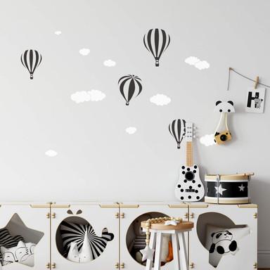 Wandtattoo Heissluftballons mit Wolken (2-farbig)