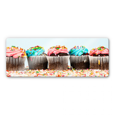 Glasbild Party Cupcakes – Panorama