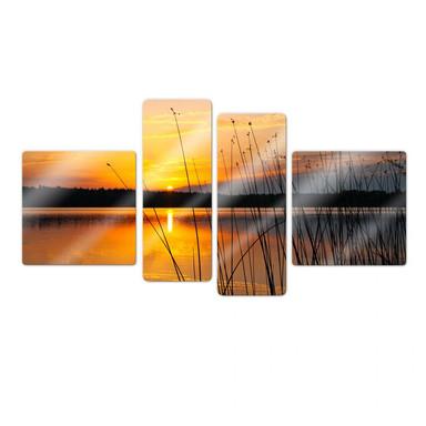 Glasbild Sonnenuntergang am See (4-teilig)
