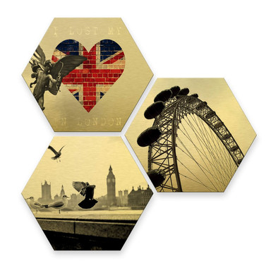 Hexagon - Alu-Dibond-Goldeffekt - Impression of London (3er Set)