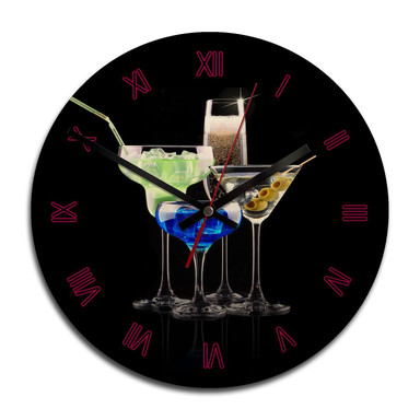 Holz-Wanduhr - Girly Cocktails