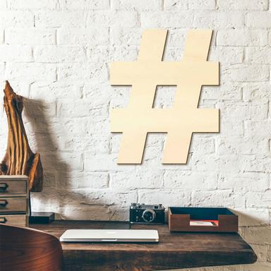 Holzbuchstaben Hashtag inkl. 8 Klebepads