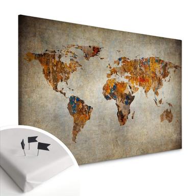 Leinwandbild mit Korkrückwand - Weltkarte - Shabby Chic