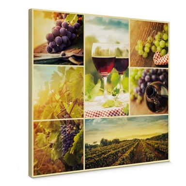 Leinwandbild Wein Collage - quadratisch
