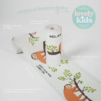 Lovely Kids selbstklebende Kinderzimmer Bordüre Chill & Relax mit süssem Faultier