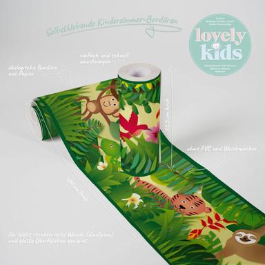Lovely Kids selbstklebende Kinderzimmer Bordüre Jungle Friends mit süssen Dschungel-Tieren