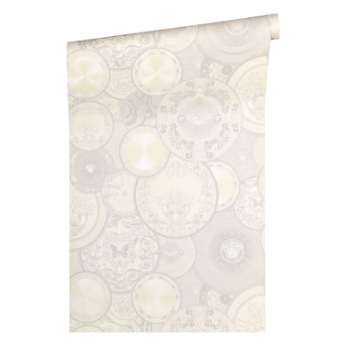 Versace wallpaper Tapete Les Etoiles de la Mer 2 grau, metallic, weiss