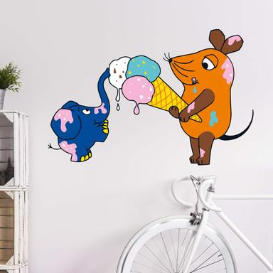 Wandsticker Die Maus isst Eis