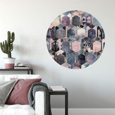Wandtattoo Fredriksson - Art Deco: Traum in Rosé und Gold - rund