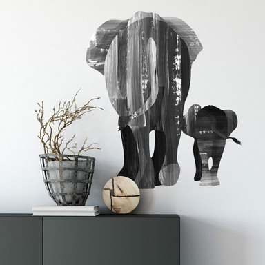 Wandtattoo Goed Blauw - Elefantenfamilie