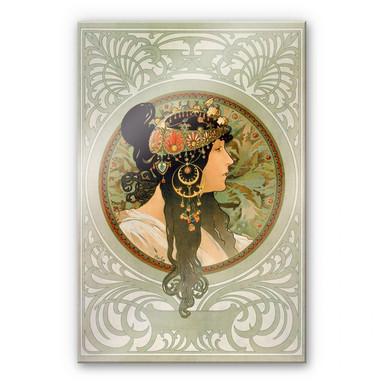 Acrylglasbild Mucha - Die Brünette