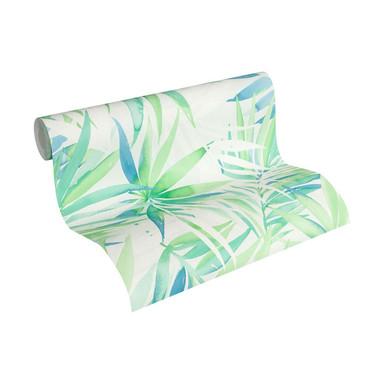 Designdschungel by Laura N. Vliestapete mit Palmenprint Dschungel Tapete blau, grün