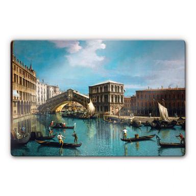 Glasbild Canaletto - Die Rialtobrücke in Venedig