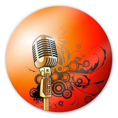 Glasbild Retromicrophone - rund