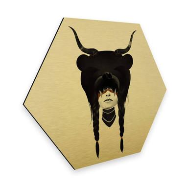 Hexagon - Alu-Dibond-Goldeffekt Ireland - Bear Warrior - Bärenkriegerin