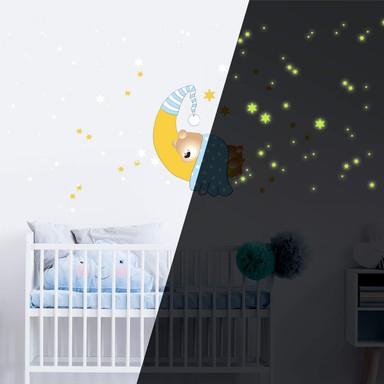 Wandsticker Bärchen, Mond und Sterne (blau) + Leuchtsterne