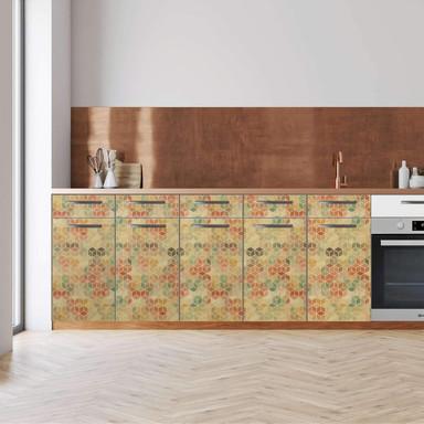 Küchenfolie - Unterschrank 200cm Breite - 3D Retro Pattern