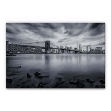 Alu-Dibond-Silbereffekt Javier - Brooklyn Bridge