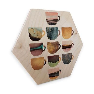 Hexagon - Holz Birke-Furnier - Fredrikkson: Kaffeetassen: Pretty Nature