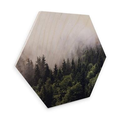 Hexagon - Holz Birke Furnier Nebliger Wald