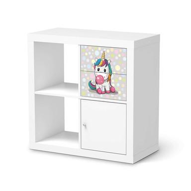 Möbelfolie IKEA Kallax Regal Schubladen - Rainbow das Einhorn