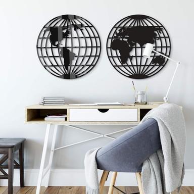 Acryldeko Weltkarte - Globus (2-teilig)