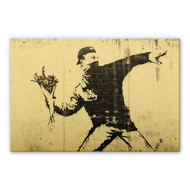 Alu-Dibond-Goldeffekt Banksy - Der Blumenwerfer