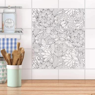 Fliesenfolie quer - Flower Lines 2